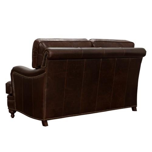 Traditional Stationary Loveseat with Brass Nail Head Trim in Espresso