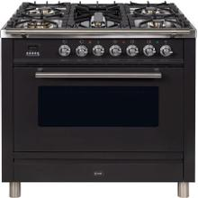 Professional Plus 36 Inch Gas Natural Gas Freestanding Range in Matte Graphite with Chrome Trim