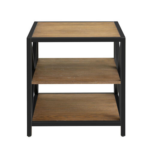 Accentrics Home - Light Brown Metal Framed Three Shelf End Table