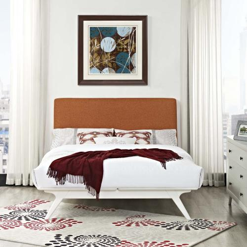 Tracy Queen Bed in White Orange