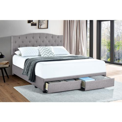 Accentrics Home - Queen Tufted Storage Bed in Glacier