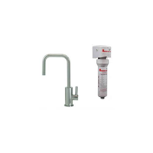 Mountain Plumbing - Point-of-Use Drinking Faucet with Contemporary Round Body & Handle (90° Spout) & Mountain Pure® Water Filtration System - Satin Brass
