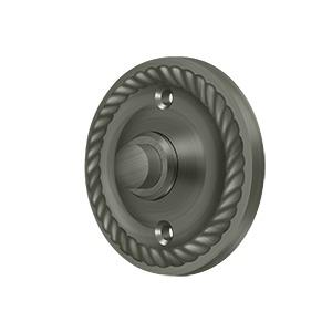 Deltana - Bell Button, Round with Rope - Antique Nickel