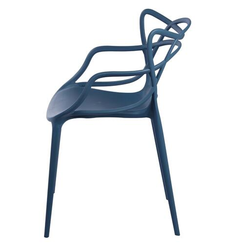 Russell Dining Molded PP Arm Chair, Nile Blue