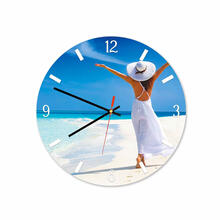 Women In Beach Round Square Acrylic Wall Clock