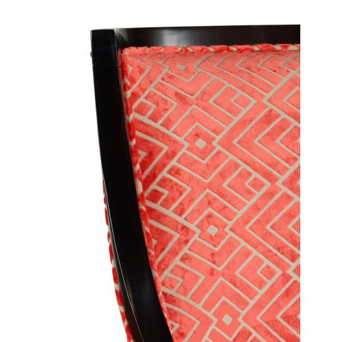 Geometric Upholstered Fabric and Slightly Curved Back Accent Chair, Orange and Black