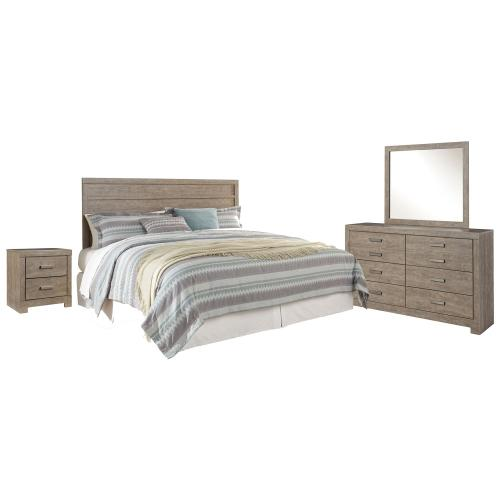 King Panel Headboard With Mirrored Dresser and 2 Nightstands