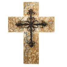 See Details - Distressed Carved Cross with Scroll Layer.