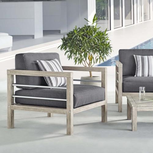 Wiscasset Outdoor Patio Acacia Wood Armchair in Light Gray