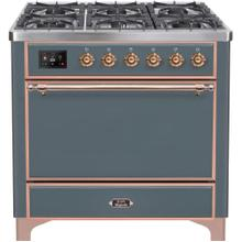 See Details - Majestic II 36 Inch Dual Fuel Liquid Propane Freestanding Range in Blue Grey with Copper Trim