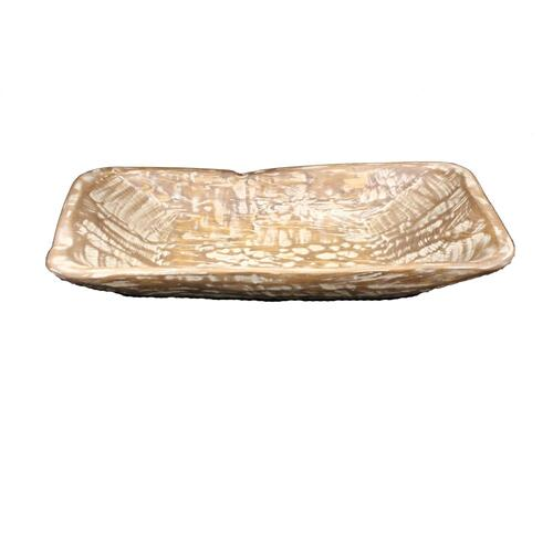 Rectangular White Wood Bowl
