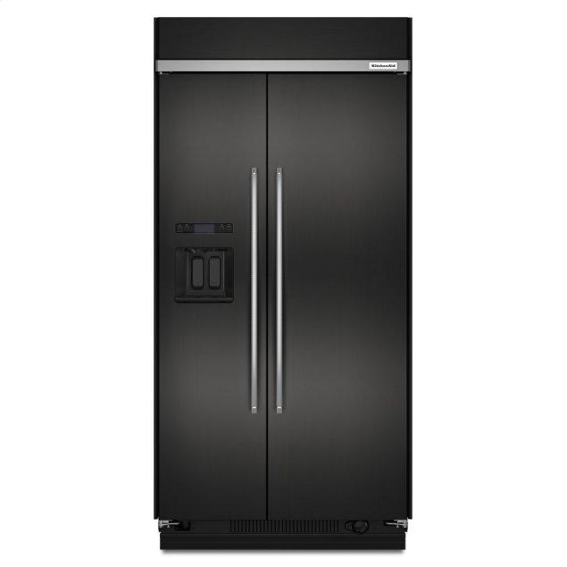 Kitchenaid 29.5 cu. ft 48-Inch Width Built-In Side by Side Refrigerator with PrintShield™ Finish - Black Stainless Steel with PrintShield™ Finish