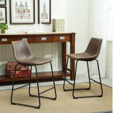 See Details - Lotusville Vintage PU Leather Counter Height Stools, Antique Brown, Set of 2