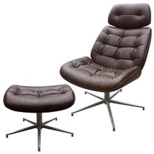 See Details - WESTPORT CHAIR AND OTTOMAN- SET  Distressed Brown Faux Leather with Stainless Finish on Metal Swive