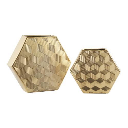 Gold Geometrical Vases,Set of 2