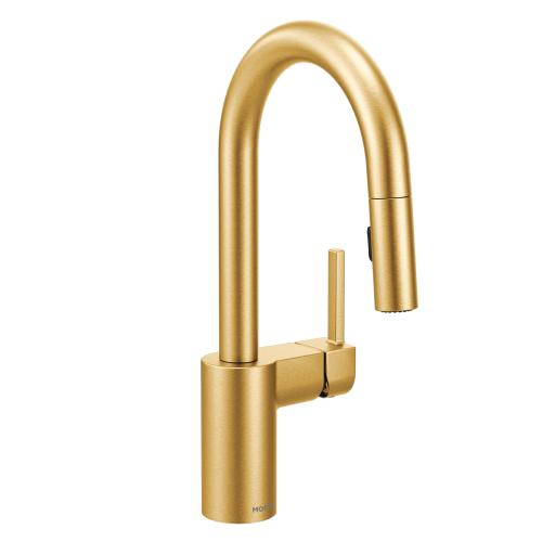 Product Image - Align Brushed gold one-handle high arc pulldown bar faucet