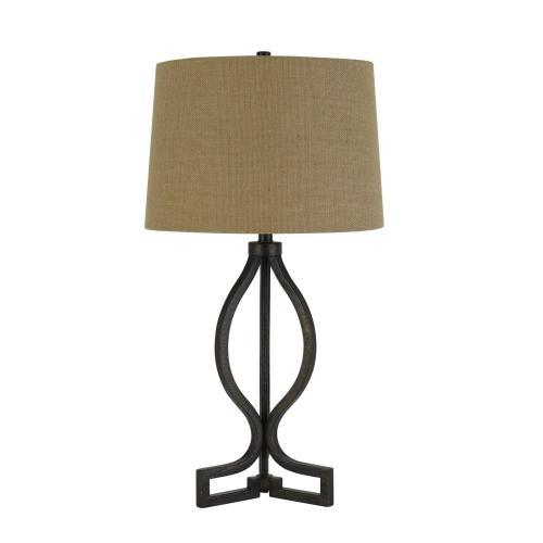 150W 3 Way Tivoli Iron Table Lamp With Burlap Shade