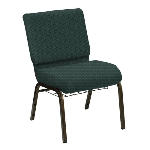 Wellington Tarragon Upholstered Church Chair with Book Basket - Gold Vein Frame