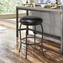 "Amy Contemporary 26"" Counter Height Barstool in Matte Black Finish and Black Faux Leather"