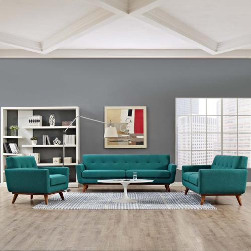 Engage Sofa Loveseat and Armchair Set of 3 in Teal
