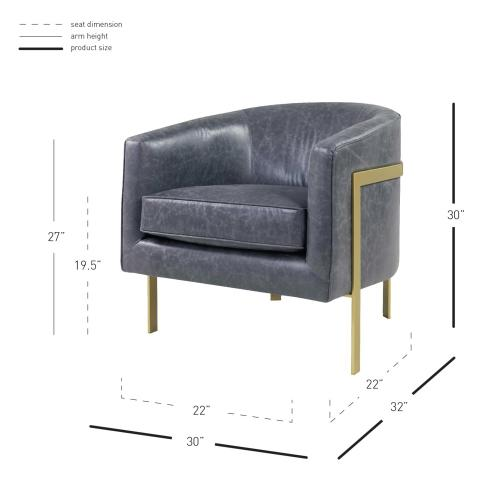 Harrod Bonded Leather Accent Arm Chair Gold Legs, Vintage Midnight