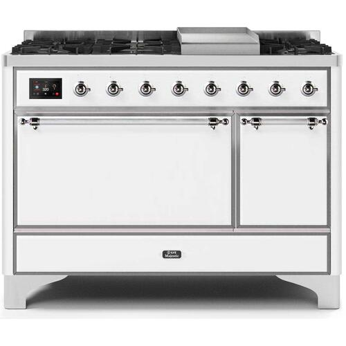 Ilve - Majestic II 48 Inch Dual Fuel Natural Gas Freestanding Range in White with Chrome Trim