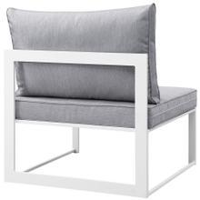 Fortuna Armless Outdoor Patio Sofa in White Gray