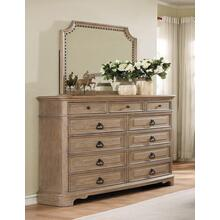 Piraeus 296 11 Drawers White Wash Dresser and NailHead Trim Mirror