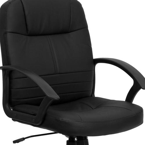Gallery - Mid-Back Black Leather Executive Swivel Office Chair with Rounded Back and Arms