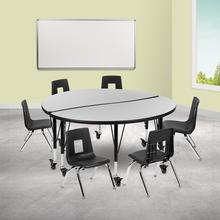 """Mobile 47.5"""" Circle Wave Collaborative Laminate Activity Table Set with 12"""" Student Stack Chairs, Grey\/Black"""
