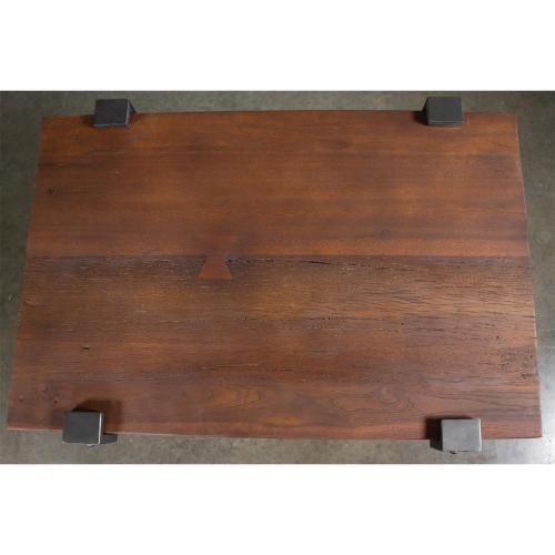 Rectangular Side Table - Patina Wood/black Metal Finish