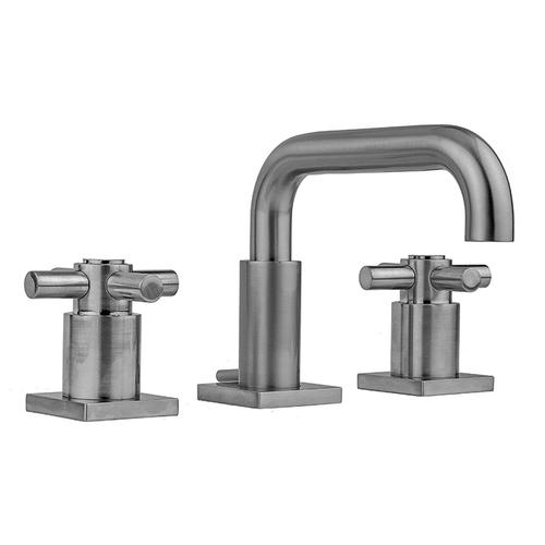 Product Image - Tristan Brass - Downtown Contempo Faucet with Square Escutcheons & Contempo Cross Handles & Fully Polished & Plated Pop-Up Drain