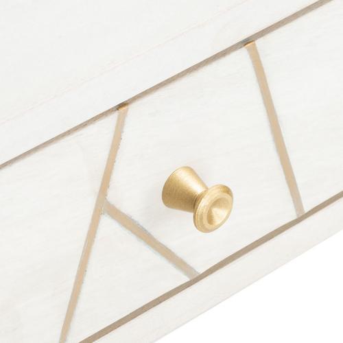 Marigold Desk - White Wash / Brass