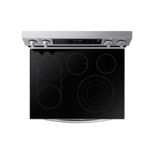 Samsung - 6.3 cu. ft. Smart Freestanding Electric Range with Flex Duo™, No-Preheat Air Fry & Griddle in Stainless Steel