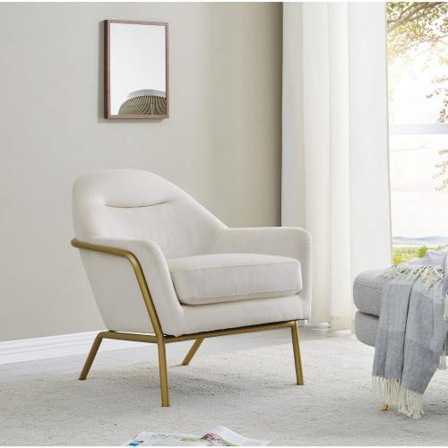 Aurelia Velvet Fabric Accent Arm Chair, Dulce Sand