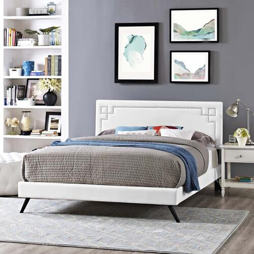 Ruthie Full Vinyl Platform Bed with Round Splayed Legs in White