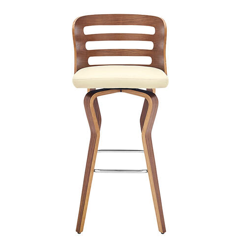 """Verne 30"""" Swivel Cream Faux Leather and Walnut Wood Bar Stool"""