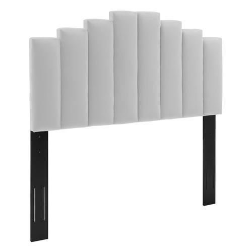 Noelle Performance Velvet Twin Headboard in Light Gray