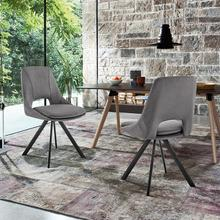 See Details - Lexi Dining Room Accent Chair in Grey Velvet and Black Finish