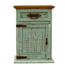 "Nightstand Left : 26"" x 20"" x 32"" Turquoise Washed Collection"