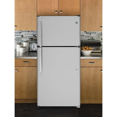 GE® 18 Cu. Ft. Top-Freezer Refrigerator Stainless Steel - GTS18FSLKSS