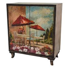 Florence Rustic Wood Painted Canvas Italian Bistro 2 Door Cabinet