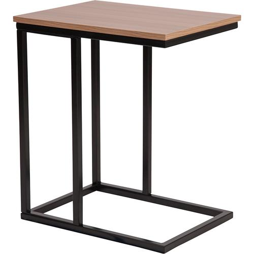 Flash Furniture - Aurora Rustic Wood Grain Finish Side Table with Black Metal Cantilever Base