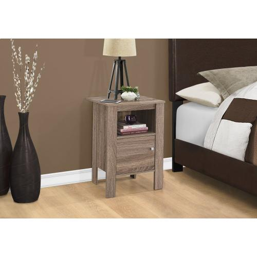 Gallery - ACCENT TABLE - DARK TAUPE NIGHT STAND WITH STORAGE