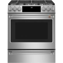"Café 30"" Slide-In Front Control Dual-Fuel Convection Range with Warming Drawer Stainless Steel"