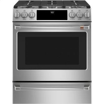 """Café ™ 30"""" Slide-In Front Control Dual-Fuel Convection Range with Warming Drawer Stainless Steel"""