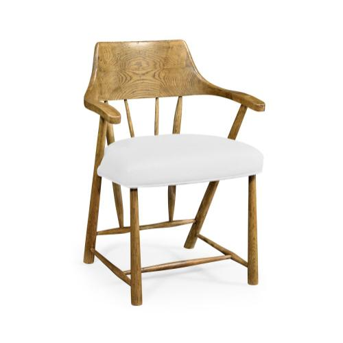Natural Oak Dining Armchair with Fabric Seat, Upholstered in COM