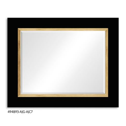 """Teal Homespun"" mirror (Noir/Gold)"