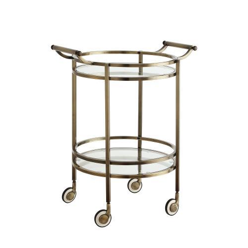 Tempered Glass Shelves Service Cart, Antique Brass