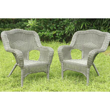 Maui Camelback Resin Wicker/ Steel Frame Outdoor Patio Chair (Set of 2) - Weathered Gray